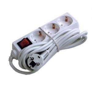 Produžna priključnica s prekidačem 3 utična mjesta 5 metara kabla